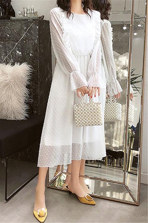 All White Chiffon BabyDoll Dress