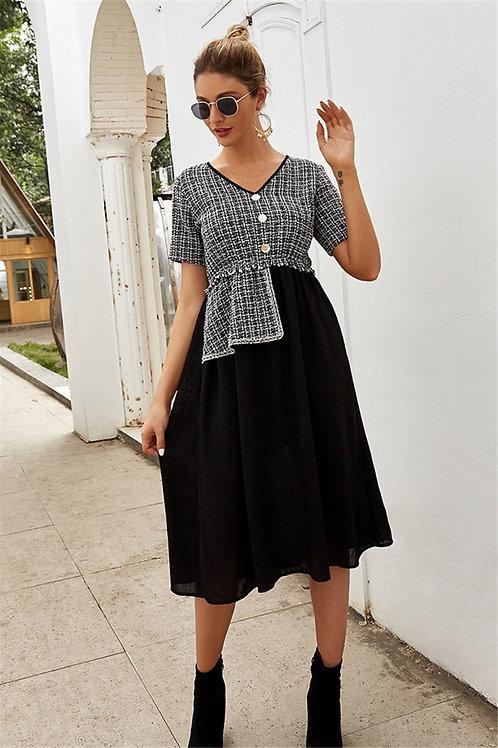Tweed Spliced Midi Dress