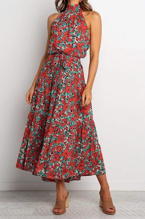Sleeveless Floral Pleated Dress
