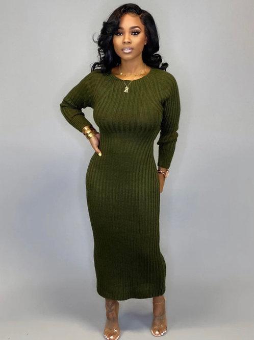 Rib knit Twist CutOut Midi Dress