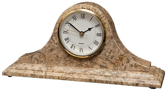 Premier Mantle Marble Clock - Fossil Stone