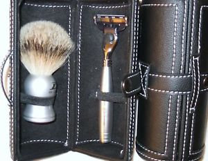 3-Pc Smart Leather Shaving Set