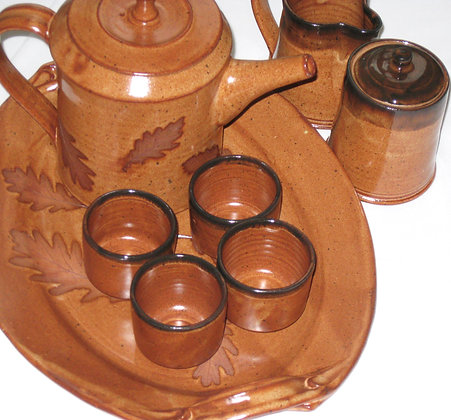 Rusty Orange and Brown Maple 10 Piece Coffee Tea Set