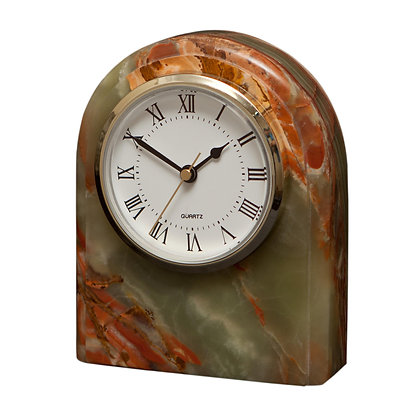 Marble Clock -Onyx Swirl Green