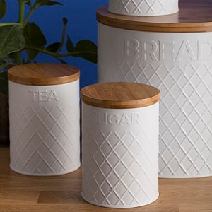 Deluxe White Embossed Storage Set