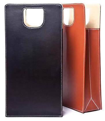 Deluxe Leather Two-Bottle Wine Tote
