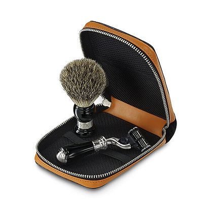 Deluxe Travel Shaving Razor Brush Kit
