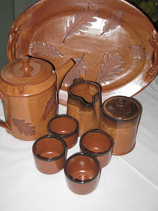 Rusty Orange and Brown Maple 10 Piece Coffee Tea Set