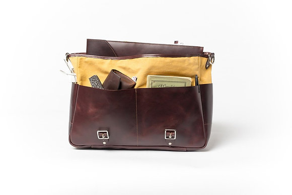 Deluxe Leather Canvas Messenger Bag