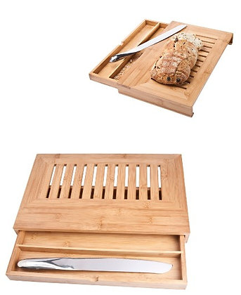 Deluxe Bamboo Bread Drawer & Knife