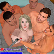 A bisex couple gangbanged in a barthtub