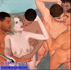 A bisex couple gangbanged in a barthtub