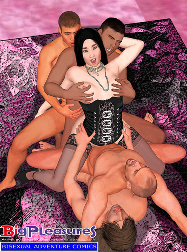 An empowered woman in an orgy with hers four boyfriends