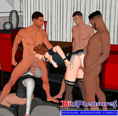 A bisex couple gangbanged by employees, bisex cuckold