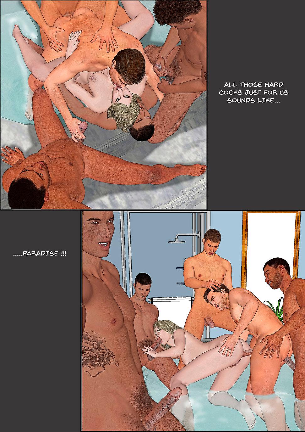 bisex couple gangbang in bathtub