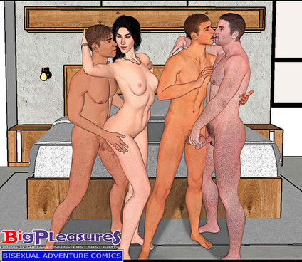 a gay couple fucking with a bisex couple, foursome bisex