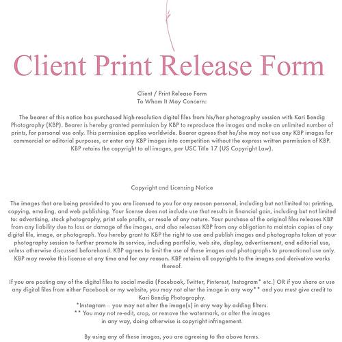 Client Print Release Form