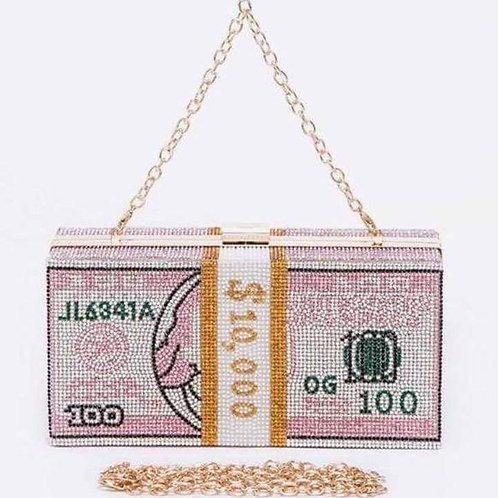 Pink Crystal Cash Clutch