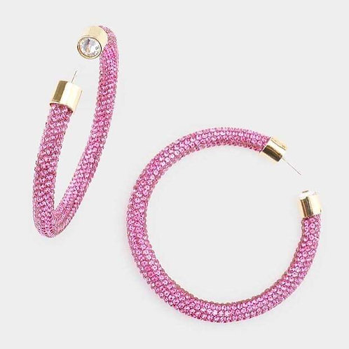 Pave Please Crystal Hoops