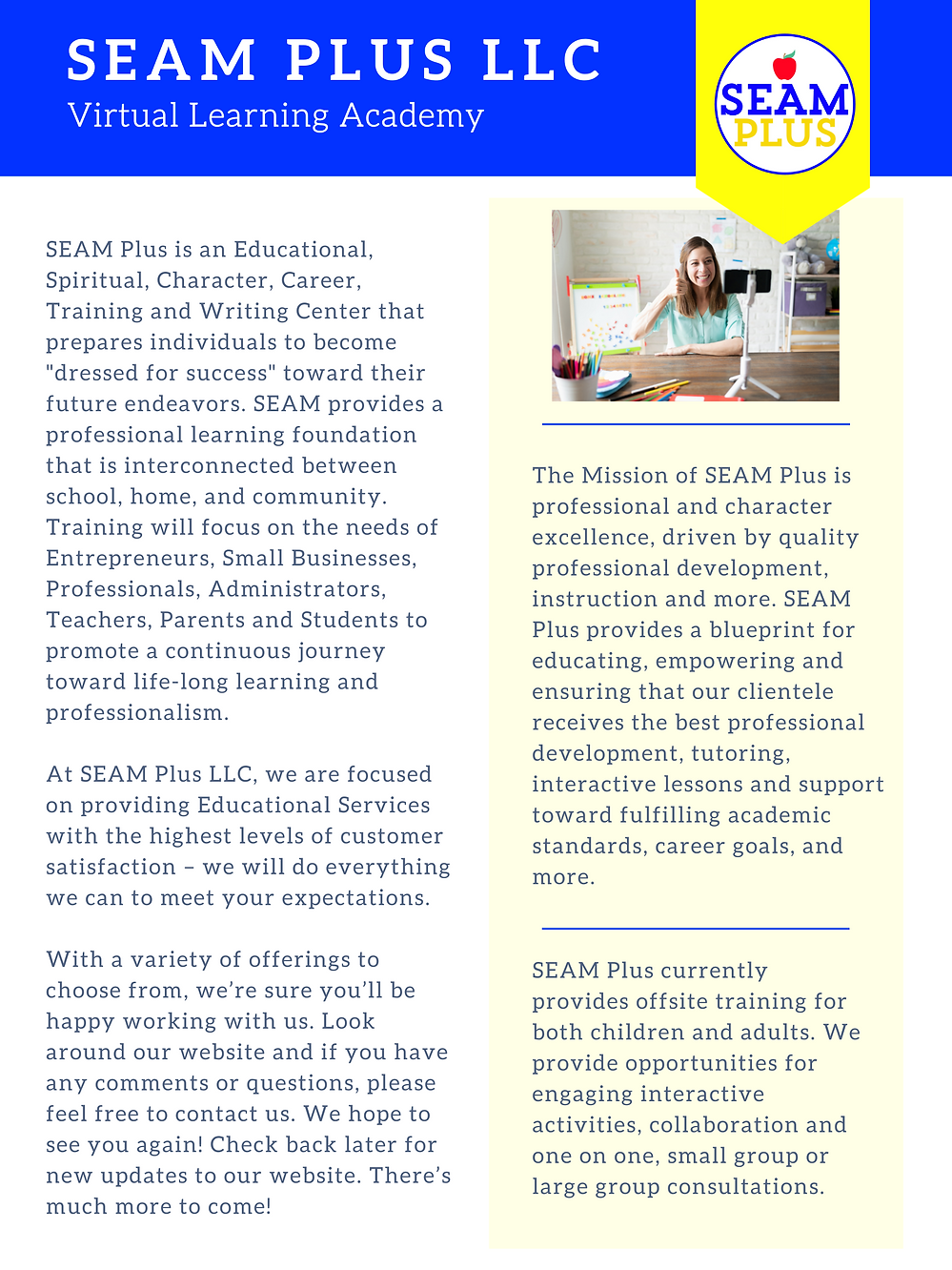 About Us SEAM Plus Virtual Learning Acad