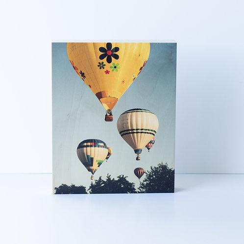 Boise Balloon Festival, photograph on wood