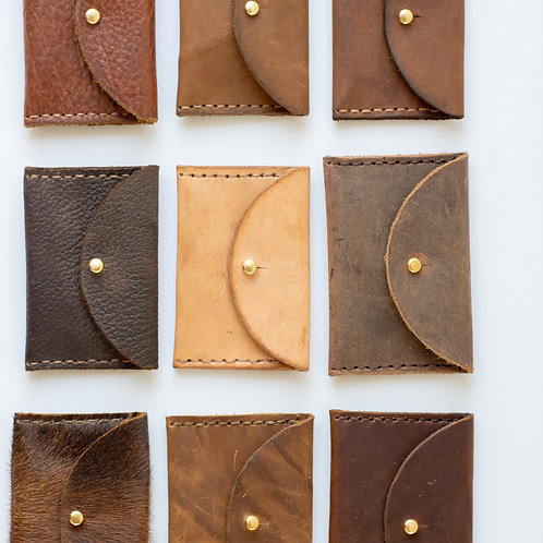 Handcrafted Leather Card Pouch Wallets Style #1-6