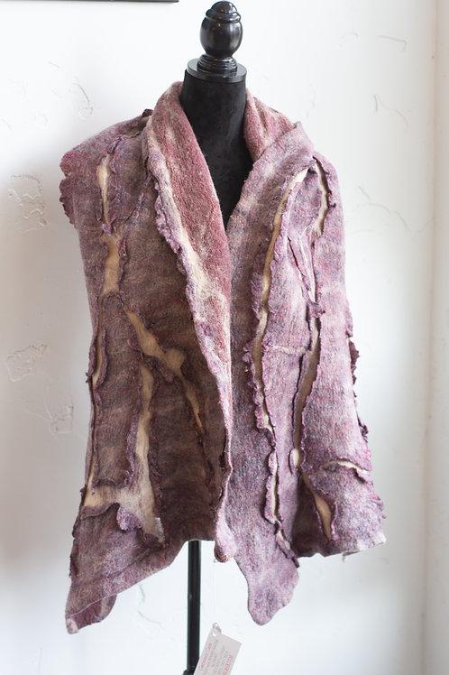 Purple Resist Felted Wool Scarf