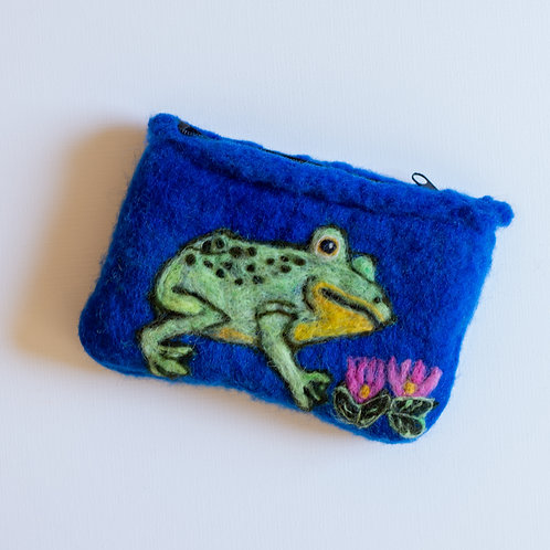 Felted Wool Pouch, Frog