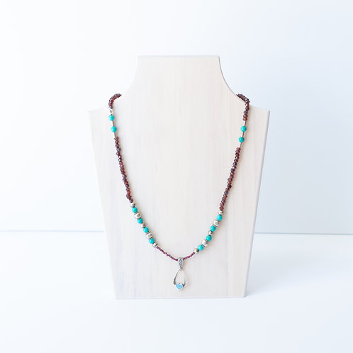 Turquoise and Garnet Beaded Necklace