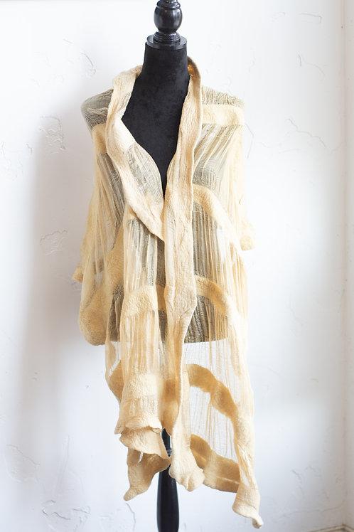 Felted wool and silk shawl