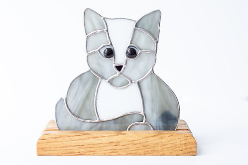 Stained Glass Cat on stand