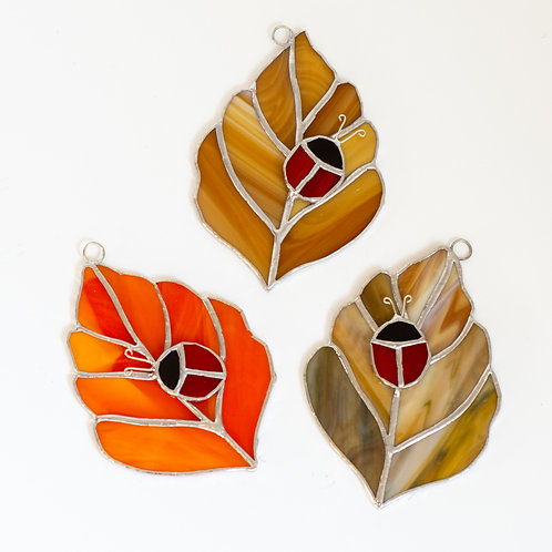 Stained Glass Leaves with Ladybug