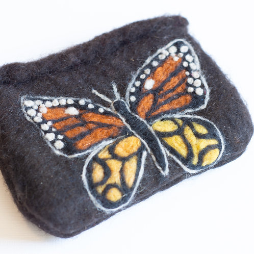 Felted Wool Pouch, Butterfly SOLD