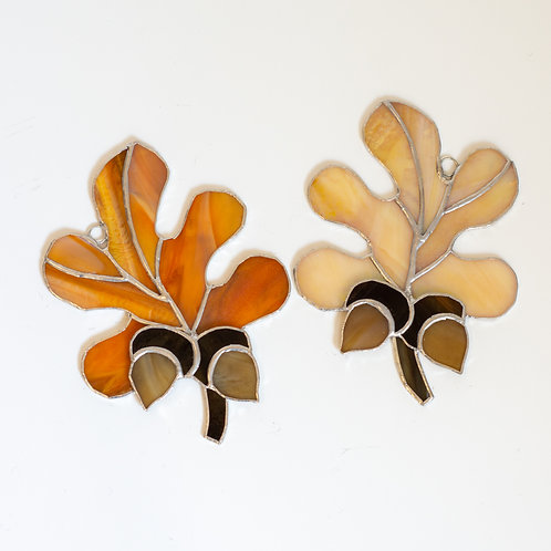 Stained Glass Leaves with Two Acorns