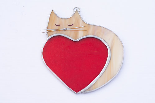 Stained Glass Cat with Heart
