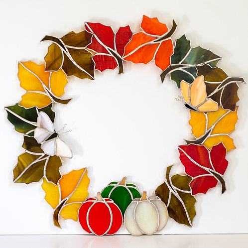 Stained Glass Leaf Wreath SOLD