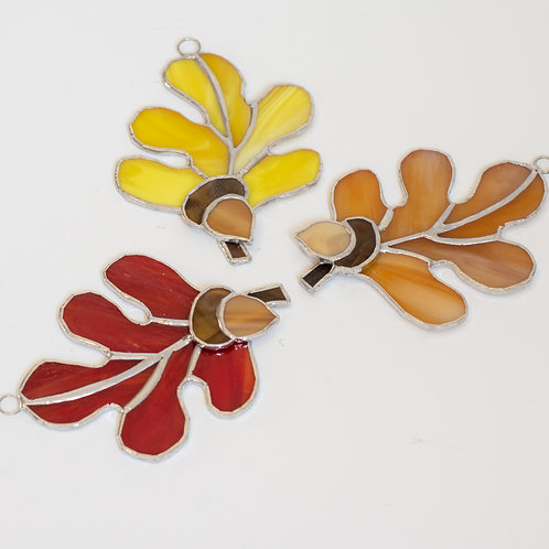 Stained Glass Leaves with Acorn