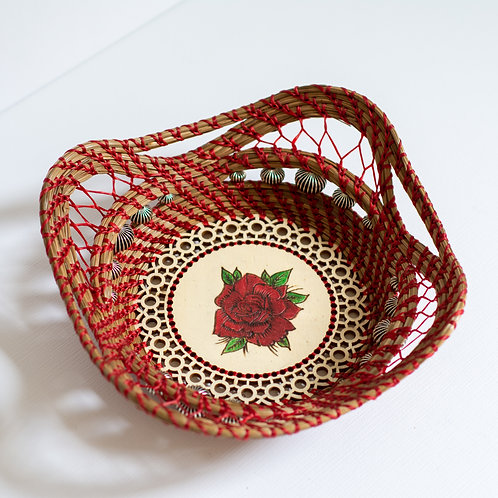 "Pine Needle Basket, ""Rose"""