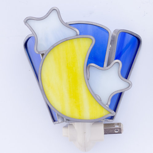 Stained Glass Nightlight, moon and stars