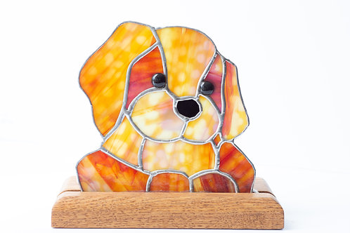Stained Glass Dog on stand