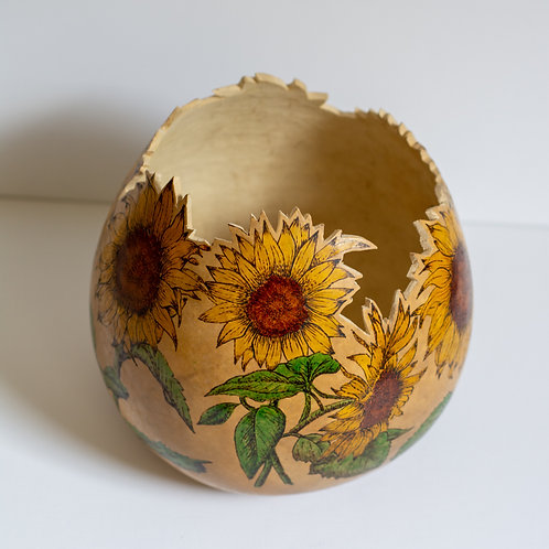 """Pyrography  Gourd, """"Beverly"""" SOLD"""