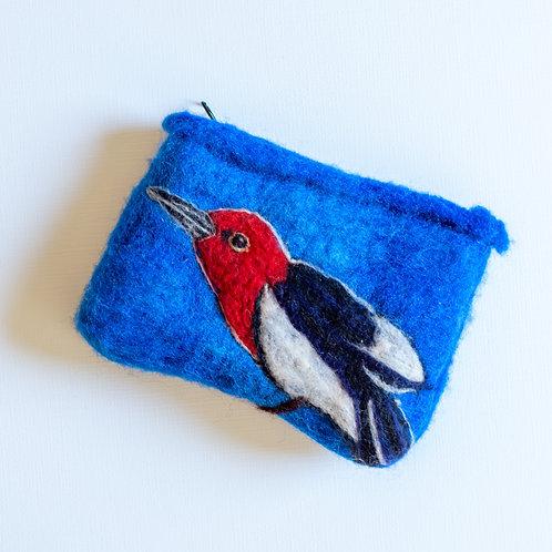 Felted Wool Pouch, Woodpecker