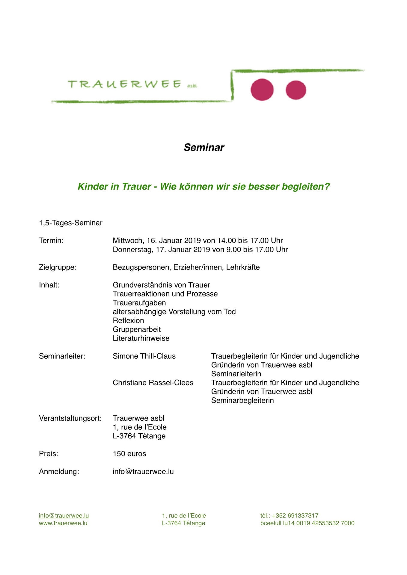 Kinder in Trauer - Seminar