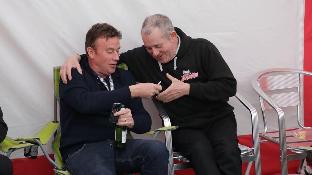 Alan Irwin and Richard Hewitt sharing a moment at Donington