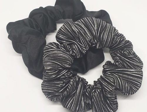 Scrunchie set zwart en strepen
