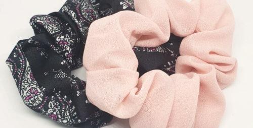 Scrunchie set roze en print