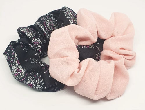 Scrunchie set roze en print