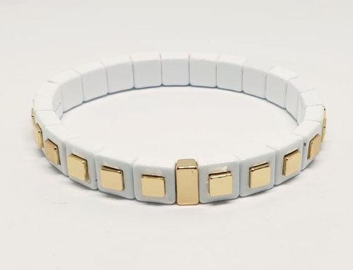Armband wit met gouden stenen