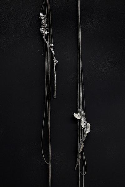 Hollyhock 1, 2020. Chardon 2, 2020 Lead, cotton, Polyvinyl chloride, charcoal, flowers. ART3, Valence.  ©Phoebé Meyer