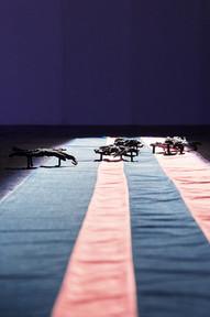 Brune, 2019. Lead, cotton, voices . Palais de Tokyo, Paris.  ©Ayka Lux